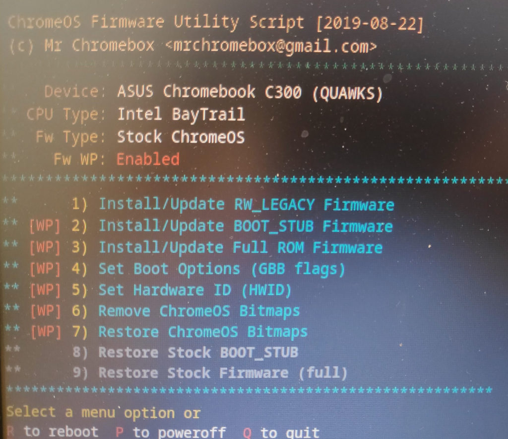 Chromebook firmware flashing tool